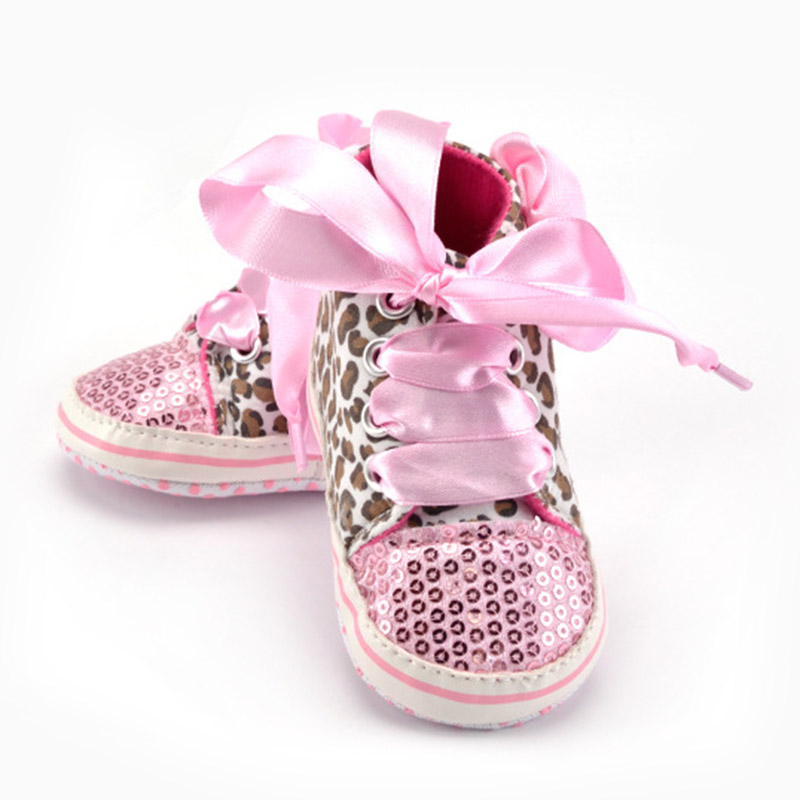 2018 New 0-12M Baby Prewalker Newborn Girl Leopard Printed Sequin Sneaker Toddler Kids Non-Slip Lace Up Walking Shoes @