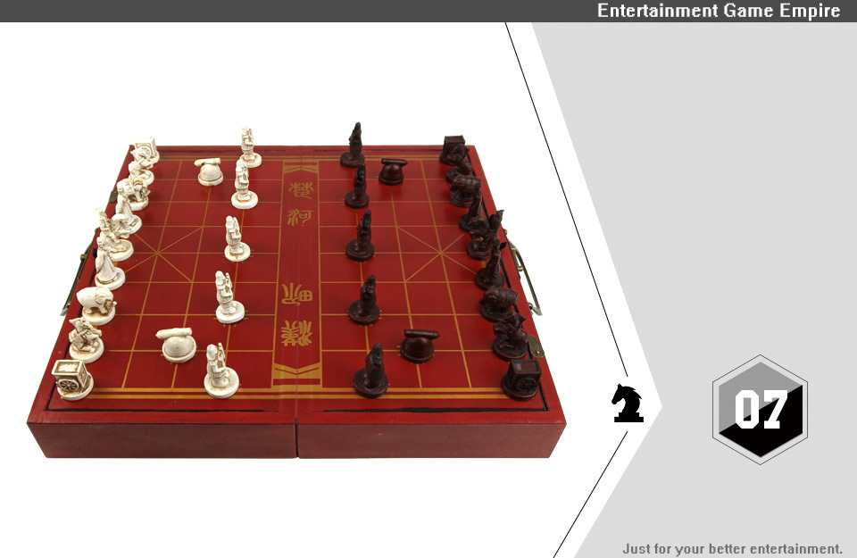 2 Yernea High-grade Wooden Chinese Chess Game Set Folding Chessboard Chinese Traditions Chess Resin Chess Pieces New Board Game (7)