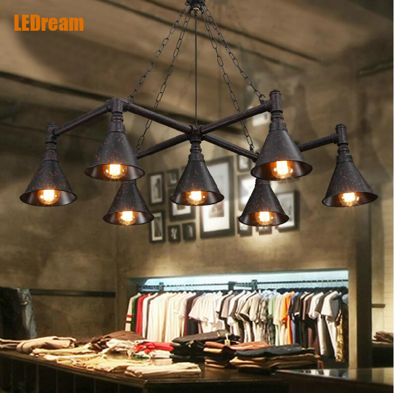 Loft retro dining room table lamp industrial control American country bar lamp droplight sitting room bedroom pipe long shape american country design wooden philippine dining table set