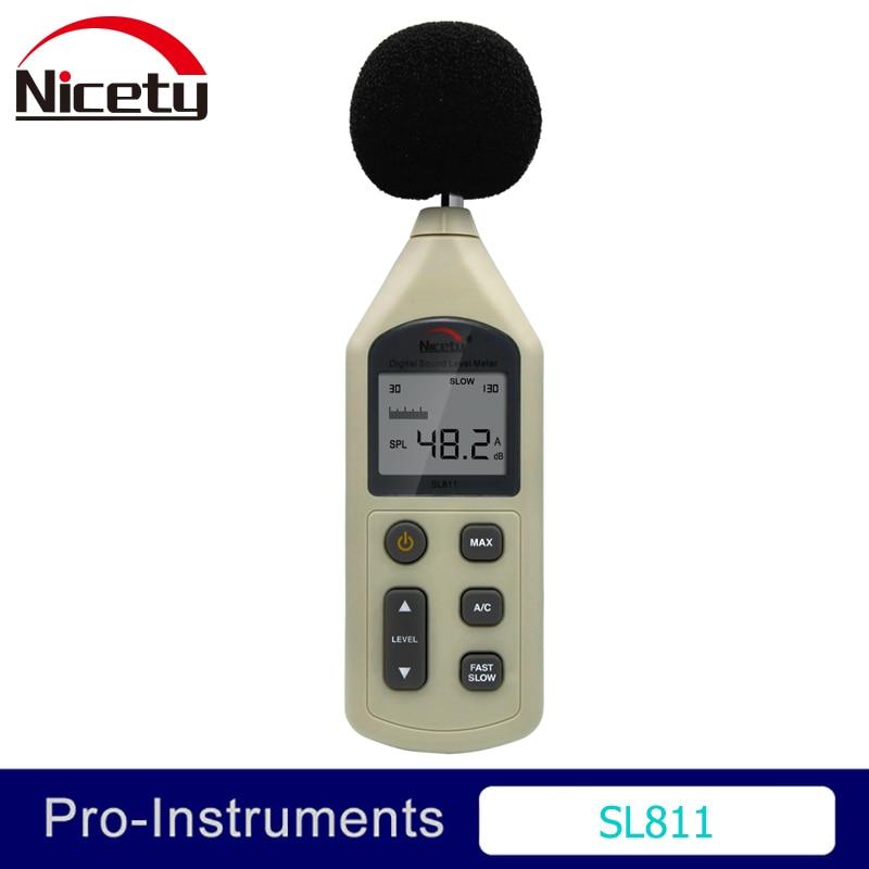 Nicety SL811 30-130dBA Portable Digital Sound Noise Audio Level Meter Measuring Decibel Pressure Logger Tester Monitor Null uyigao ua824 digital decibel sound level meter noise meter tester with max min hold 30dba 130dba range measurement hand held