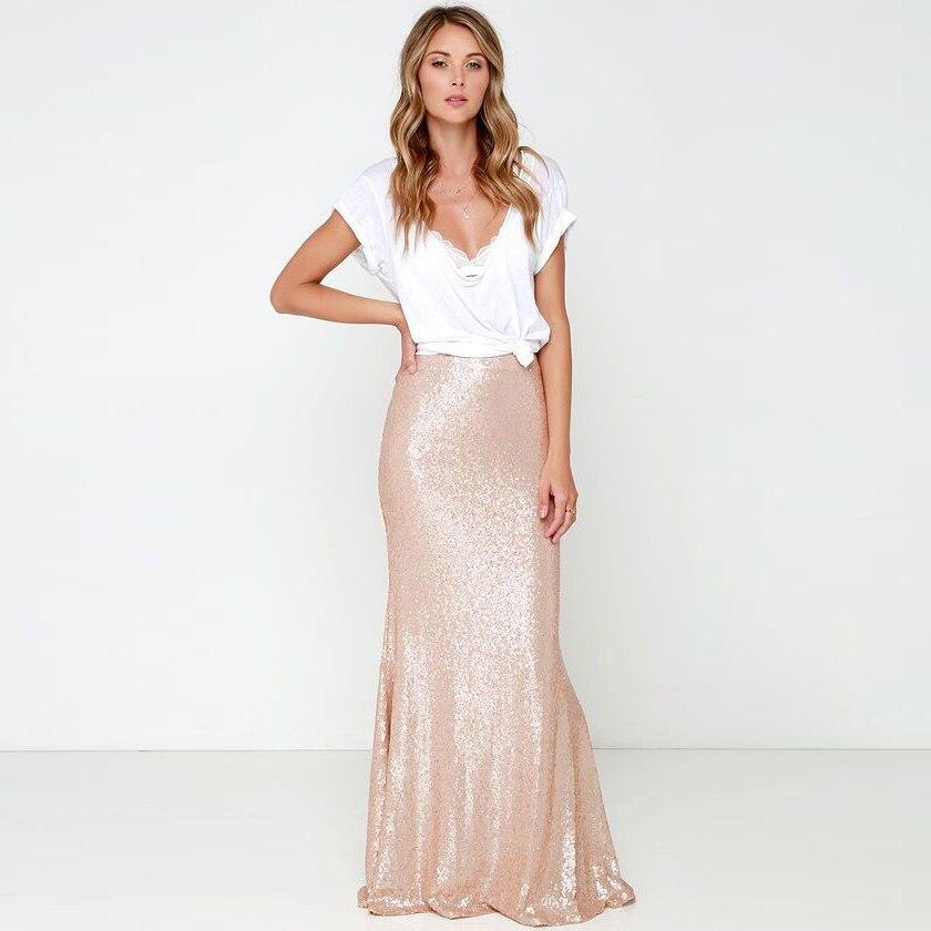 Long Gold Sequin Skirt - Skirts