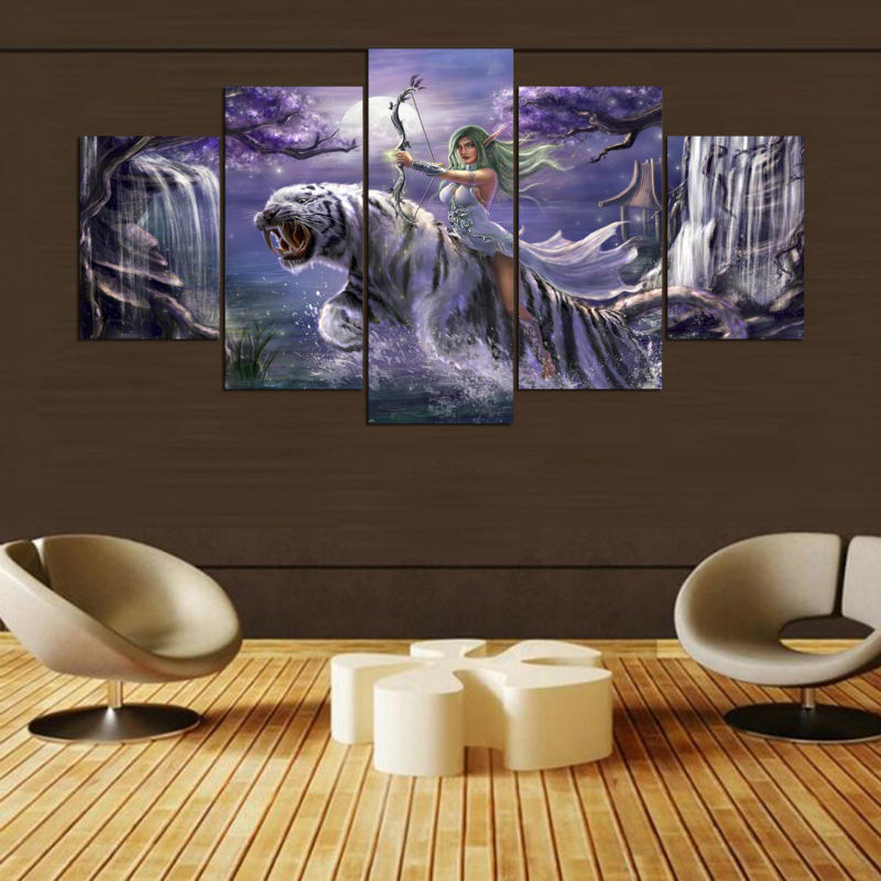 diy 5 panel diamond painting Game Warcrafte Characte bedroom living room mosaic 5D round Diamond Embroidery still life