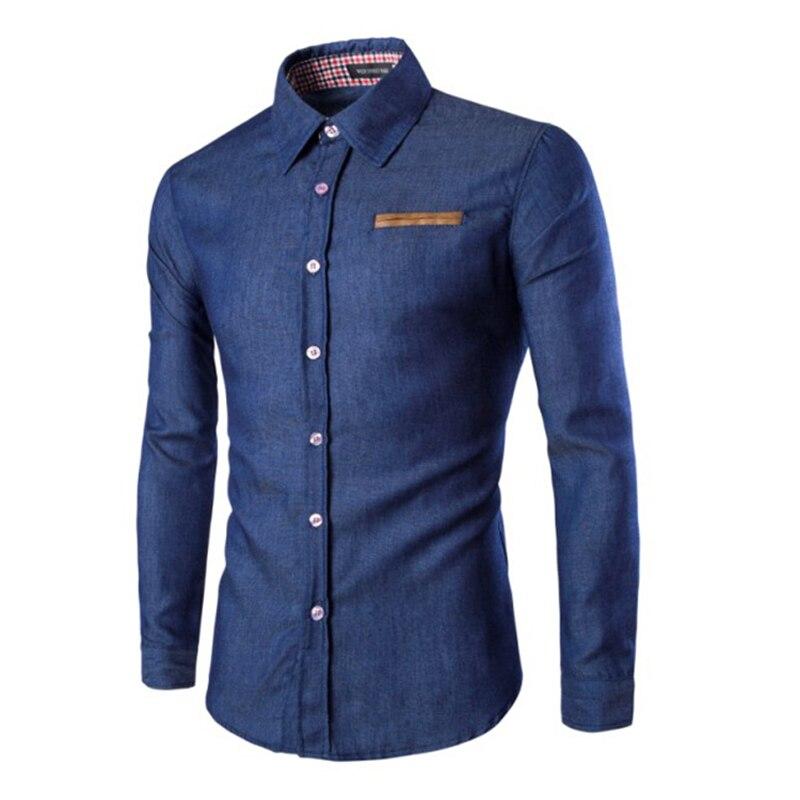 New Men's Brand Shirt Pocket Fighting Leather Shirt Long-Sleeve Fashion Casual Slim Men's Dress Shirt Camisa Masculina M-3XL