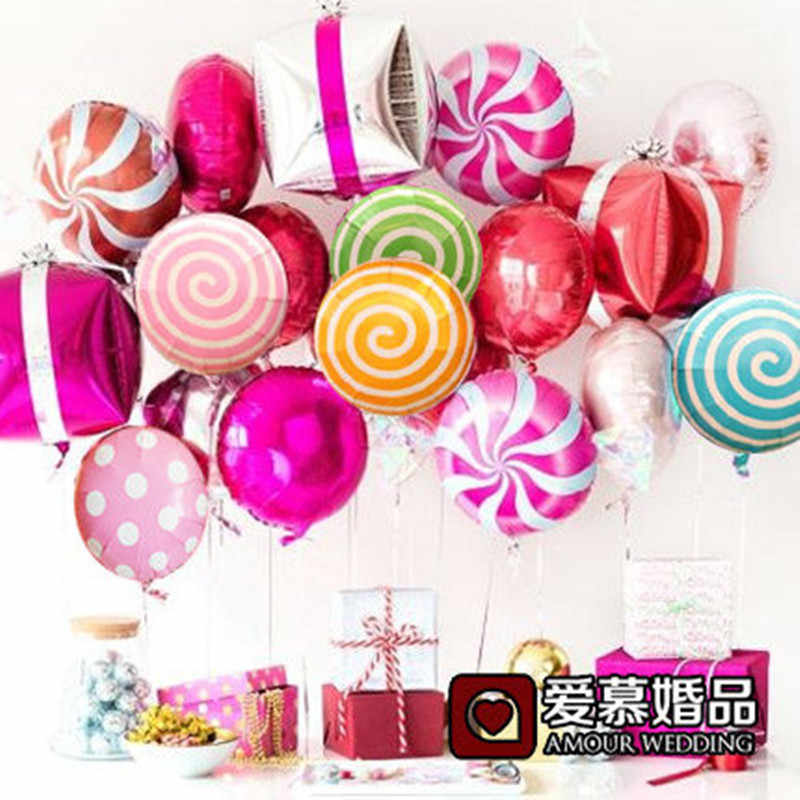 10pcs/lot Colorful Candy Foil Balloons 18inch Round Lollipop Aluminum Balls Cube Gift Box Wedding Birthday Baby Party Decoration