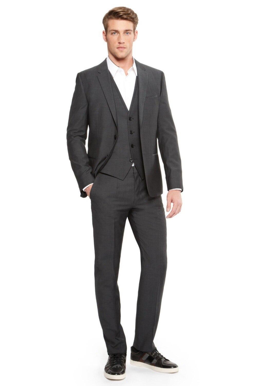 New Arrival Groom Tuxedo Groomsmen Charcoal Gray Wedding/Dinner/Evening Suits Best Man Bridegroom (Jacket+Pants+Tie+Vest)
