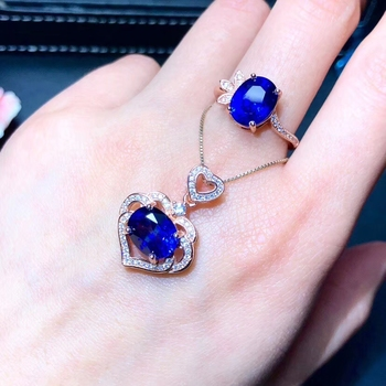 beautiful blue sapphire gem jewelry set including ring and necklace for women real 925 silver natural gem girl birthday gift