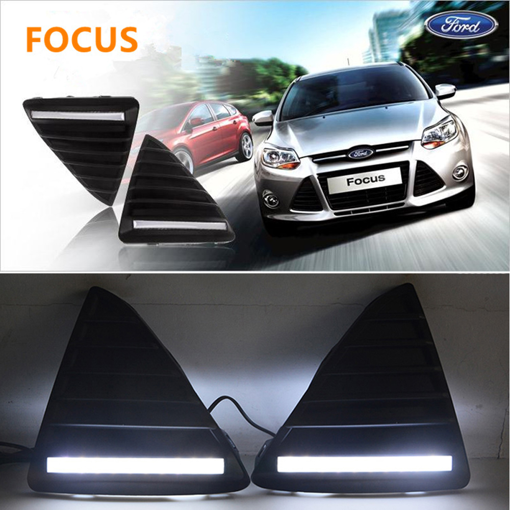 1 Pair Car Styling LED Daytime Running Light DRL Day Light Modification With Light Guide Bar For Ford Focus 2012 2013 2014 dongzhen 1 pair daytime running light fit for volkswagen tiguan 2010 2011 2012 2013 led drl driving lamp bulb car styling