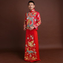 Formal long robe tang suit Men's Vintage hanfu chinese style tang suit wedding clothes embroidery robe mariage peignoirs costume