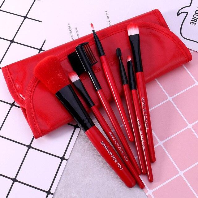 O.TWO.O 7pcs/lot Red Make Up Brushes Set Cosmetics Brush Set Beauty Eye Primer Powder Blush Brush With Pag