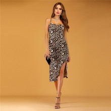 ZOGAA Women Sexy Summer Leopard Print Dresses Sleeveless Halter Split Dress Slim Party Beach Holiday Vestidos De Fiesta