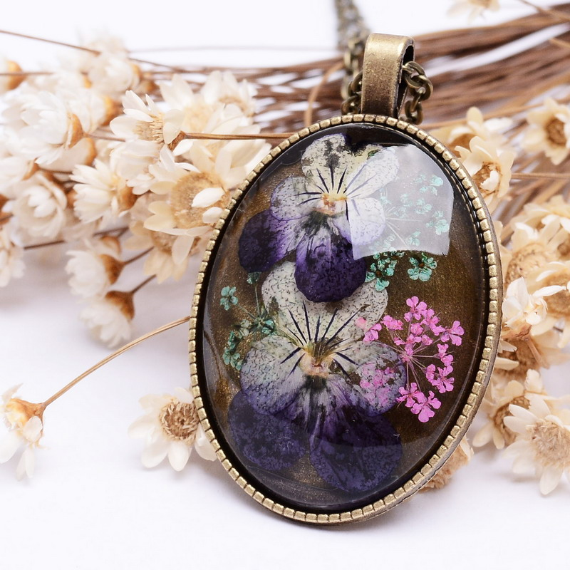 Vintage Real Dried Flower Necklace Floating Locket Antique Bronze Necklace Elegant Women Summer Jewerly ...