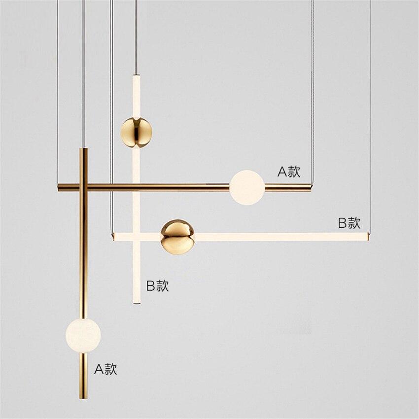 Postmodern LED Chandelier Lighting Loft Gold Pendant Lamp Metal Ball Vertical Lustre Home Decor Luminaire Hanging Lamp Luminaire in Pendant Lights from Lights Lighting