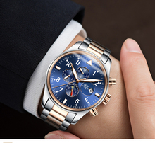 Switzerland Carnival Famous Brand Watch Luxury Men Automatic Mechanical Watches Blue Dial Stainless Steel Rose Gold Strap