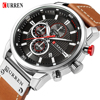 CURREN Men's Luxury Casual Chronograph Waterproof Date Genuine Leather Watches
