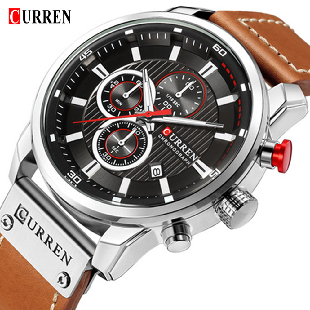 CURREN 8291 Chronograph Mens Watches Top Brand Luxury Fashion Casual Waterproof Date Genuine Leather font b