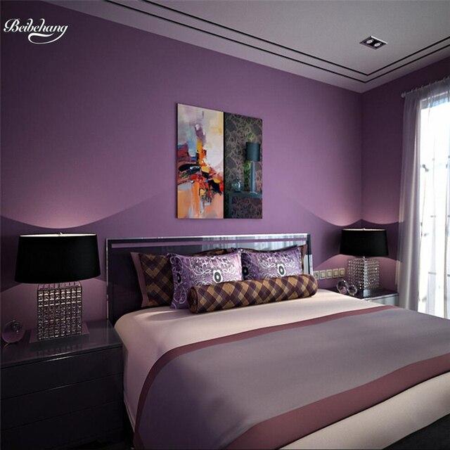 Beibehang Romantische Lila Lange Faser Vliesstoffe Tapete Plain Farbe Matte  Wohnzimmer Schlafzimmer TV Tapete Einfachen Moderne