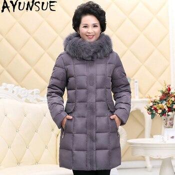 AYUNSUE 2020 Down Jacket Woman Hooded Winter Coat Women Long Middle-aged Big Fur Collar Plus Size Chamarras De Mujer 162 KJ2585