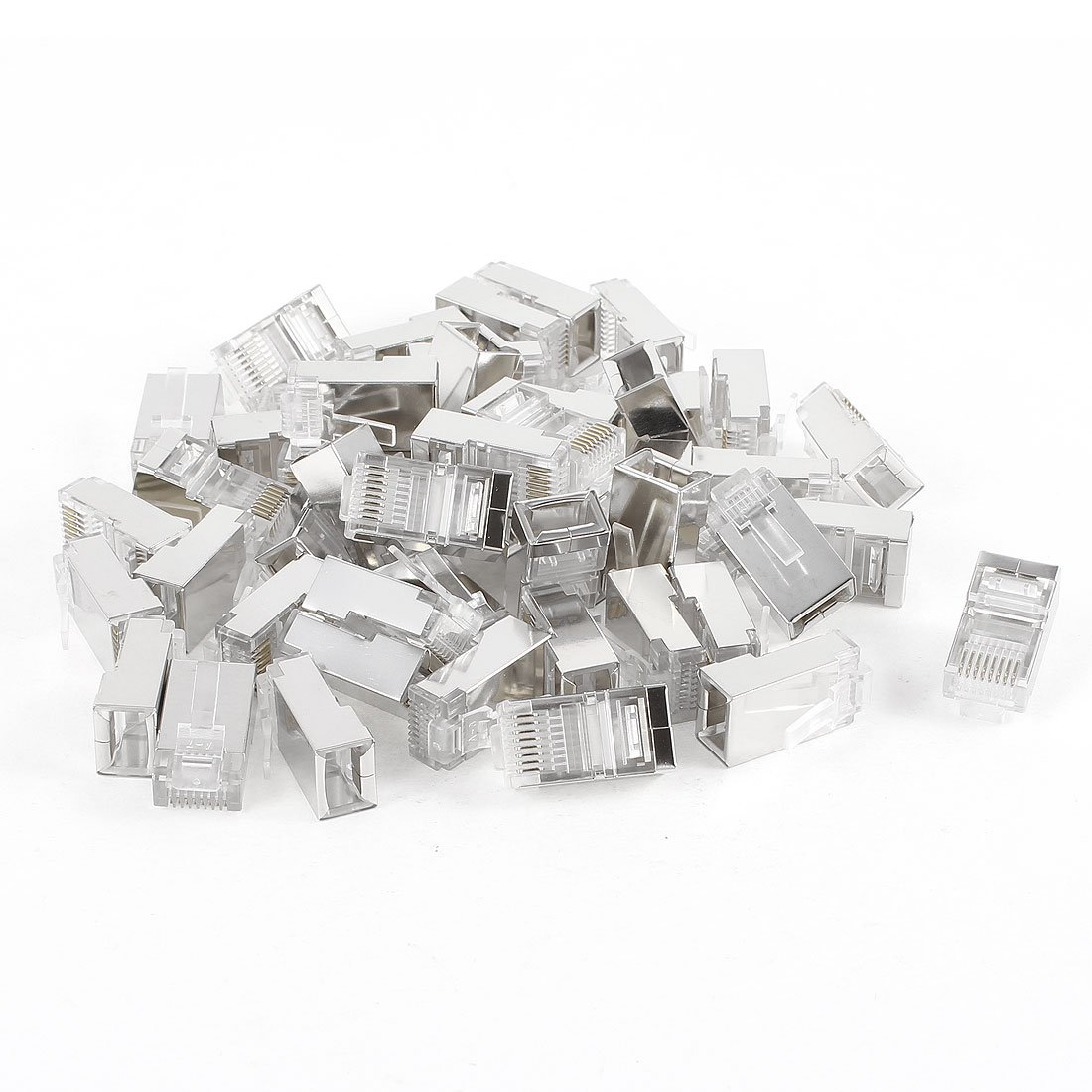 Durable 50 Pcs Silver Tone Shielded RJ45 8P8C Network Cable CAT5 End Plug