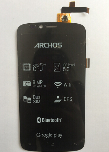 Free Shipping Black Color Archos 53 Platinum Phone PARTS LCD Display Assembly Touch Screen Digitizer