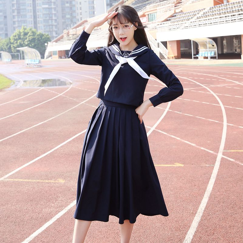 2019  Spring Japanese School Uniforms For Girls Cotton Shirt+Long Skirt Fashion Style Students Clothes Navy Blue