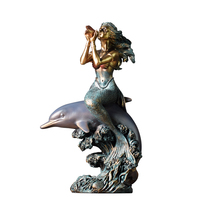 mermaid on dolphin ornaments creative sculpture artwork model room home soft furnishings living room porch counter decoration
