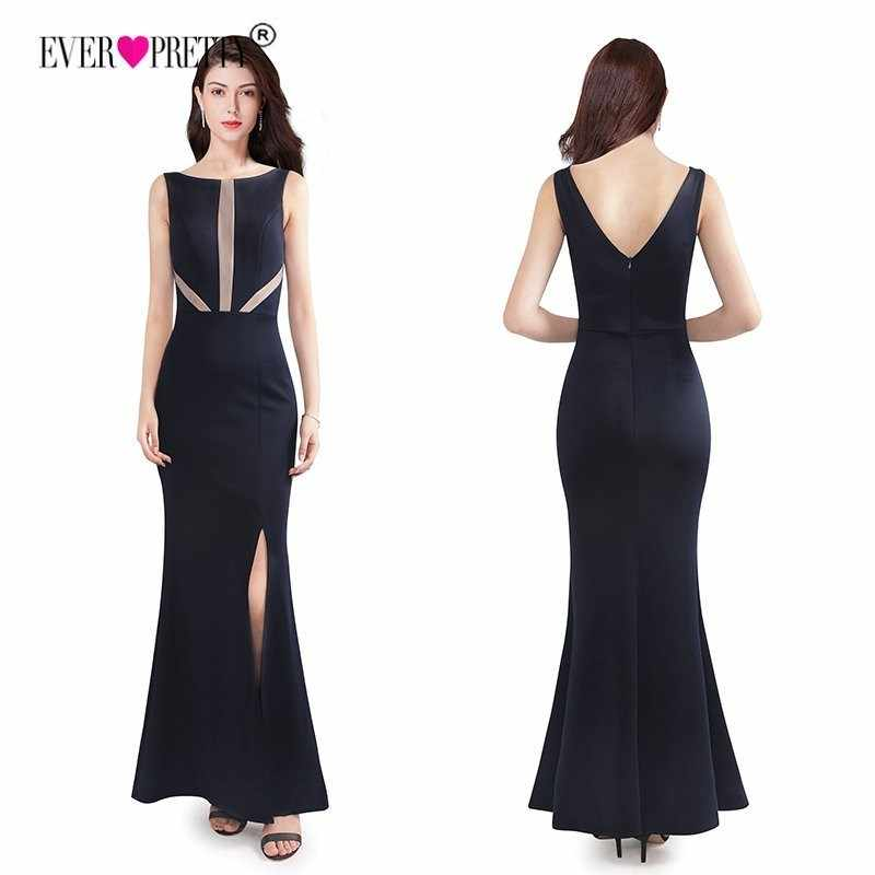 Elegant Navy Blue Mermaid Long Evening Dress With Side Split Sexy Backless Formal  Party Gown Ever 854e841658cf