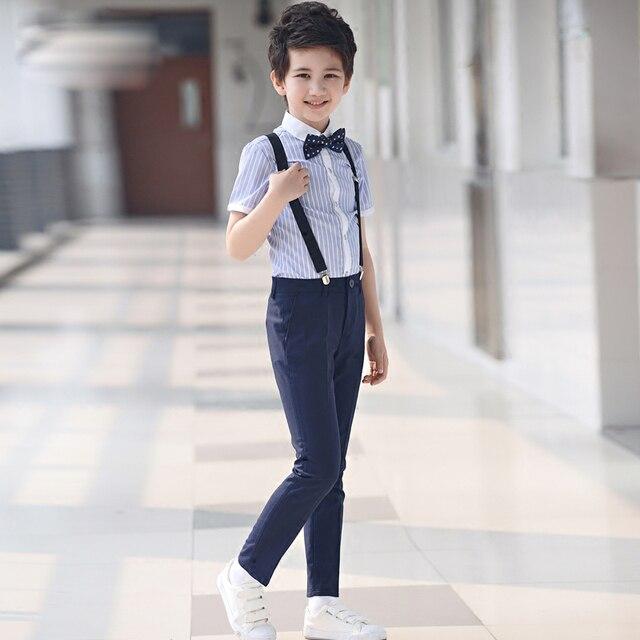 4 pcs/ensemble de mode Enfants de vêtements ensembles rayé chemises formelles shorts noir costumes jarretelles pantalon étudiant vêtements pour garçons 2