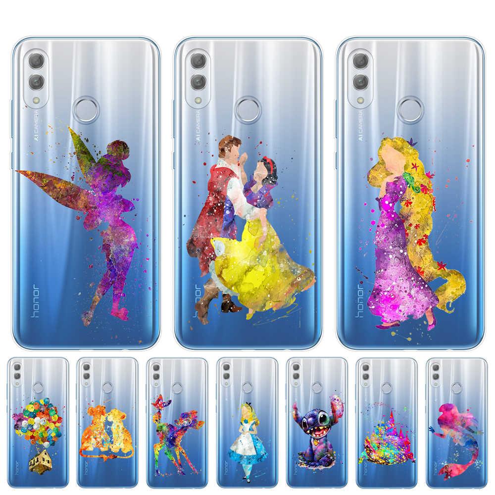水彩 Disneys ティンカーベルステッチマーメイド白雪姫電話ケース Huawei 社の名誉 9 10 20 Lite プロ 10i 8X 8C 裏表紙キャパ