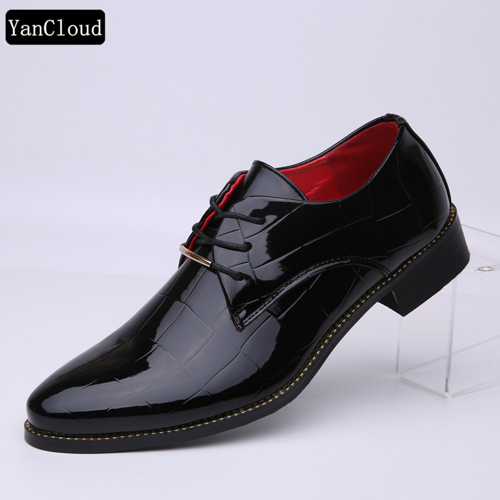 2016 Mode Lackleder Schuhe Mens Spitzschuh Kleid Schuhe Oxford Schuhe Für Männer Fashion Wohnungen Black Hochzeit Schuhe 44 Neue Sorten Werden Nacheinander Vorgestellt