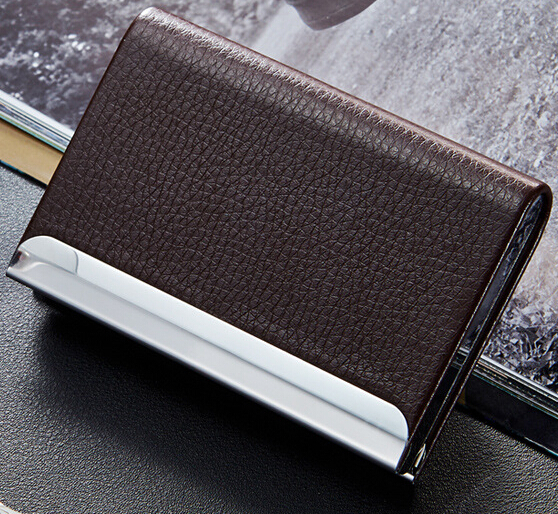 red black brown grey woman man business card holder, PU Leather name card case bonus stylish alligator pattern portable pu leather aluminum alloy magnet business card case brown