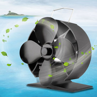 Round 4 Blades Heat Powered Stove Fan Fuel Saving Solid Aluminum Stove Fan Blower Eco Friendly