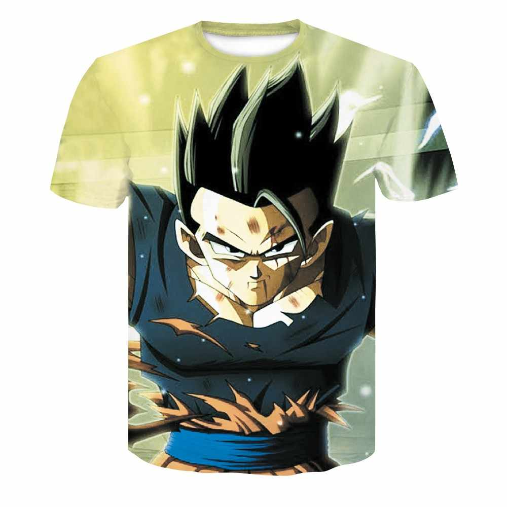 2019 ドラゴンボール 3D 男性の Tシャツアニメ原宿コミック悟空 Z プリントラウンドネックファッション夏ブレザー