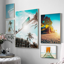 Coconut Tree Beach Car Umbrella Wall Art Canvas Painting Landscape Nordic Posters And Prints Wall Pictures For Living Room Decor цена