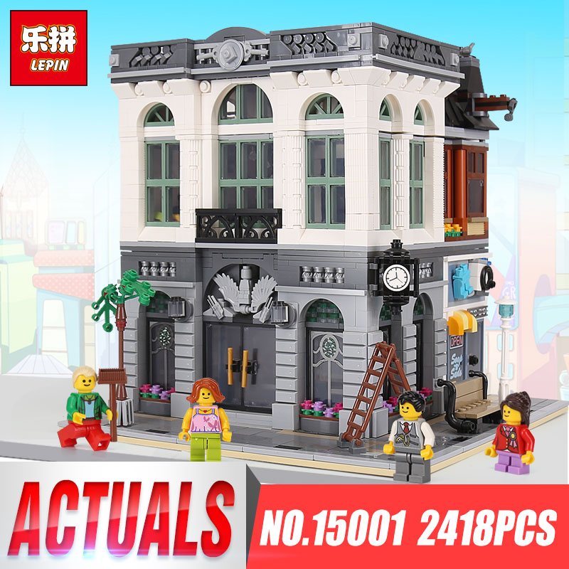 LEPIN 15001 2418Pcs Brick Bank Model Building Kits Blocks Bricks Toy Compatible With legoing 10251 DIY Funny Educational Gifts