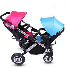 Two way high landscape can sit or lie twin baby stroller folding baby stroller suspension front