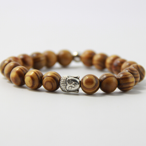Us 0 98 49 Off Scented Wooden Beads Bracelet Men And Women 10mm Alloy Buddha Head Ancient Gold Silver Lion Leopard Skull B0106 In