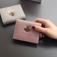 2018 purse female small little bee pink Female Wallet Brief Paragraph Leather Buckles Big Small Change Clip Card
