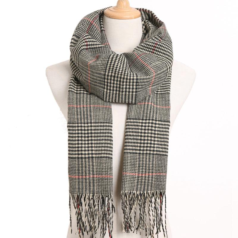 [VIANOSI] клетчатый зимний шарф женский тёплый платок одноцветные шарфы модные шарфы на каждый день кашемировые шарфы - Цвет: 39