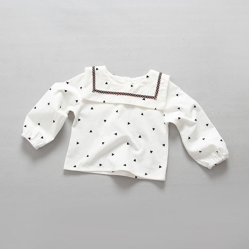 Retail Children's Clothing 2016 New Baby Girls Kroean Casual Preppy Style Cotton Pullover Tops Fall Kids Pretty Cute Blouses