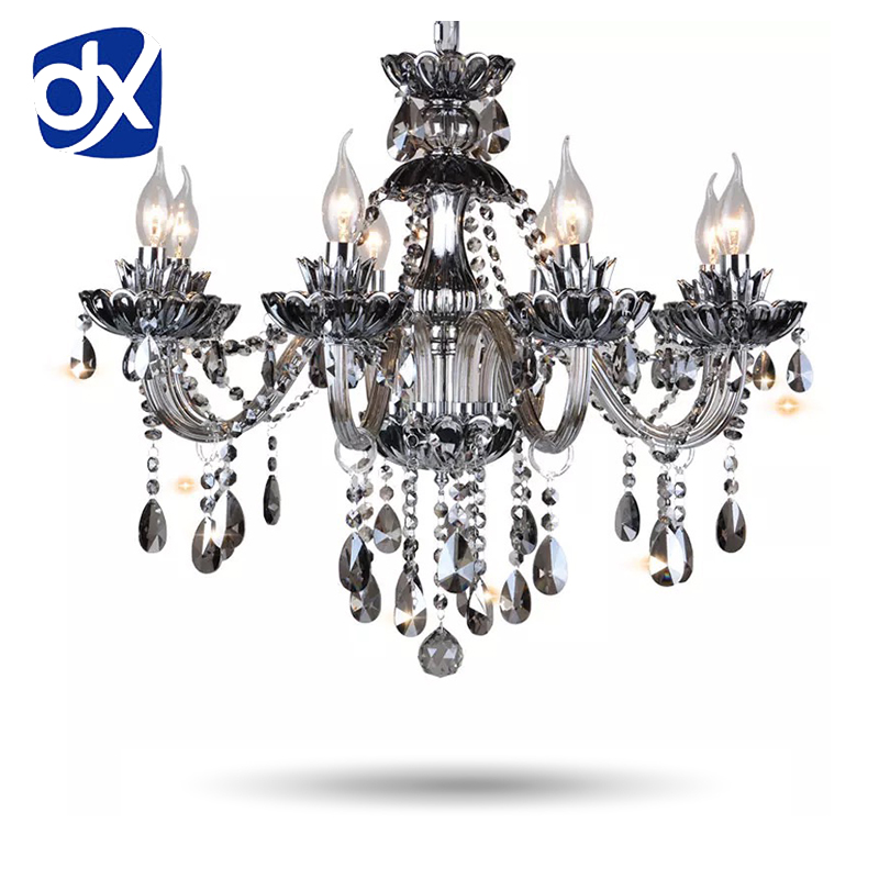 hot selling smoked k9 crystal chandelier lustre crystal chandeliers lustres de cristal chandelier e14 led ac lampshades included High Quality Smoked K9 Crystal Chandelier Lustre Crystal Chandeliers Light Lustres De Cristal Chandelier LED Villa Smoked Lamp