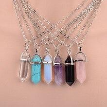 Hot sale Hexagonal Column Quartz Necklaces Pendants Vintage