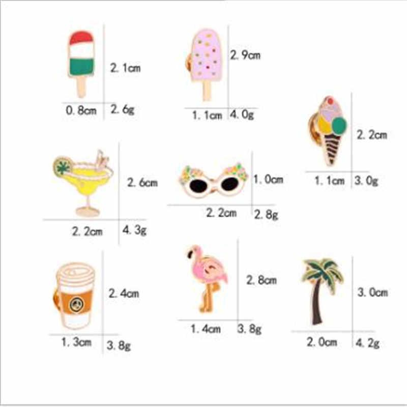 WKOUD Del Fumetto di Cocco flamingo cono gelato crema di Smalto Spilli Spilla per le donne Degli Uomini Distintivo Camicia Risvolto Spille Gotico Dei Monili