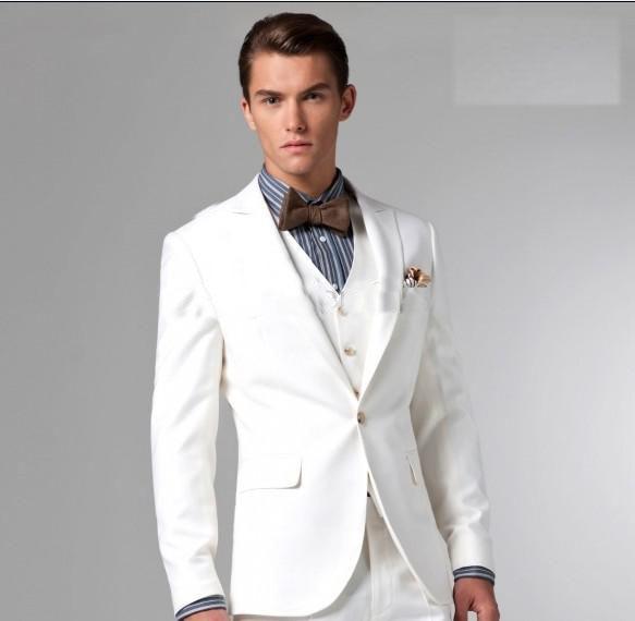 R4192 Bons Homens De Smoking Noivo Vestido De Noiva Calça Jaqueta Colete Branco Noivos Blazer Smoking Personalizado Slim Fit In Trajes From