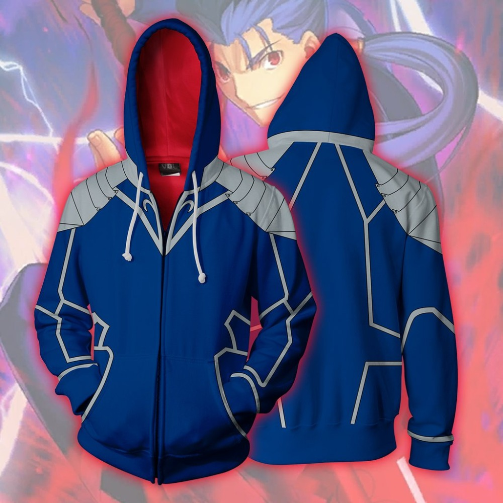 fate/stay night Gilgamesh Cosplay Costumes fate/stay night Lancer Hoodies printing Zip Up Hoodie Men's women's sports Jackets