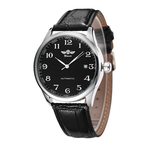 Prix pour Luxe Hommes Montre Mécanique Classique Date automatique Montre Mécanique à Remontage automatique Squelette Bracelet En Cuir Noir Montre-Bracelet