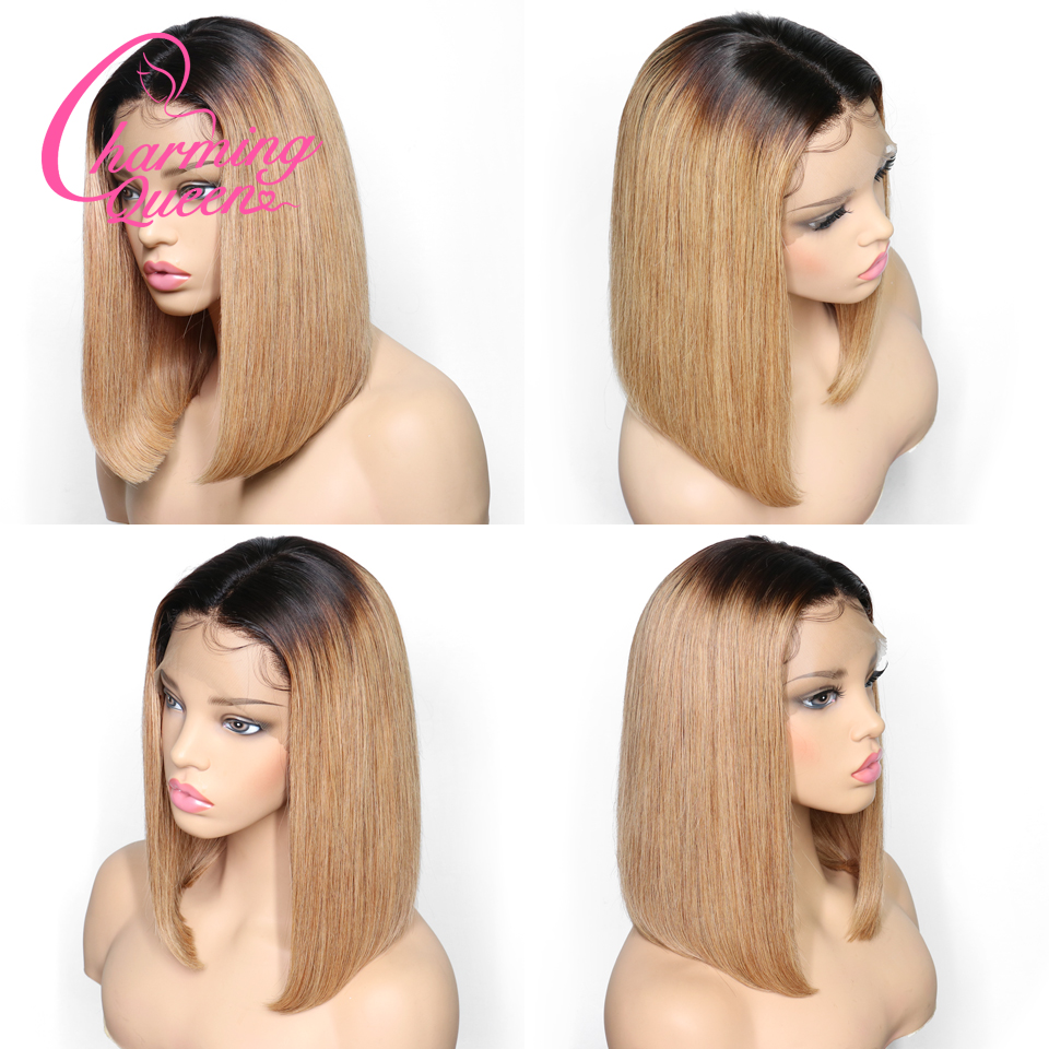 13*6 Deep Part Lace Front Human Hair Wigs For Black Women Pre Plucked Peruvian Remy Ombre Straight Short Bob Wig With Baby Hair-in Human Hair Lace Wigs from Hair Extensions & Wigs    1