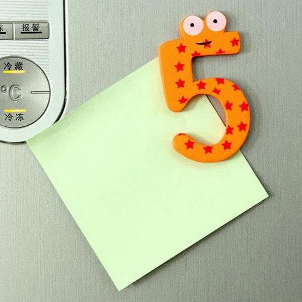 10pcs Set Wooden Fridge Magnet Numbers Cartoon Educational