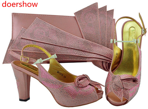 doershow 2018 Latest Italian Shoes With Matching Bags Women Nigeria Wedding pink Shoes And Bag To Match With Stones!SH1-34 doershow italian shoes with matching bags nigeria wedding shoes and bag to match stones african shoe and bag set for lady kh1 14