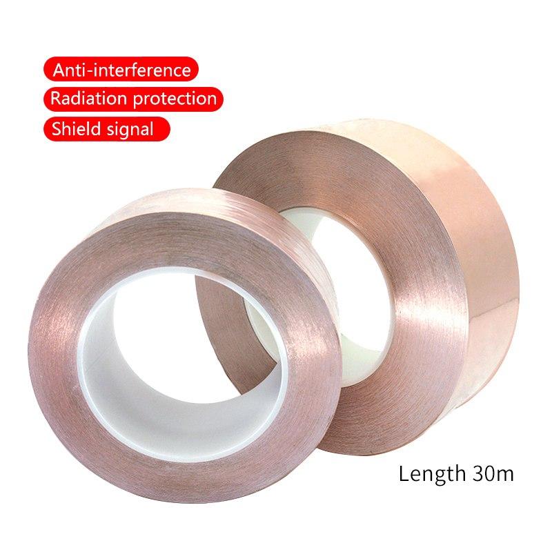 UANME 30 Meters Single Side Conductive Copper Foil Tape Strip Adhesive EMI Shielding Heat Resist Tape  15mm  20mm