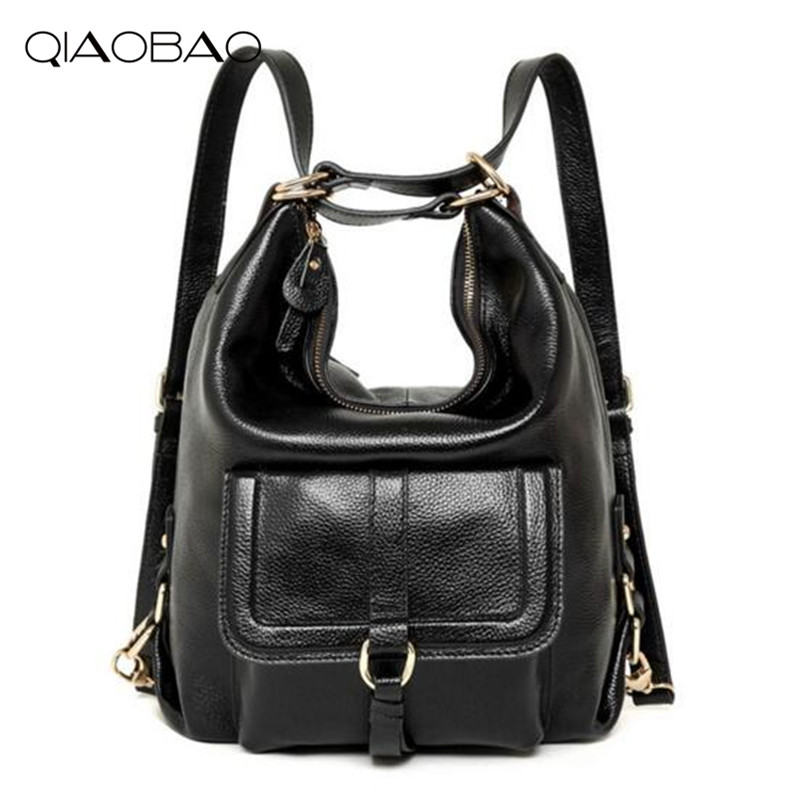 цена на QIAOBAO Real Leather Backpack dual-use Korean version bag multi-functional college limelight cowhide multi-purpose shoulder bag